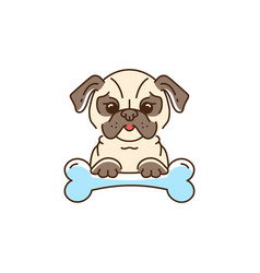 Cartoon pug cute dog with a bone bulldog pug vector