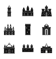 castles and towers icon set simple style vector image vector image