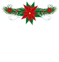 Christmas frame with pointsettia vector image vector image