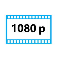 flat icon of 1080p hd video on white background vector image vector image