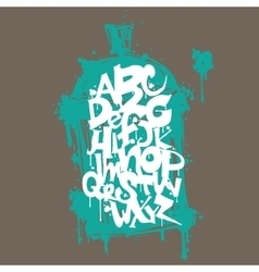 Font graffiti vandal and cans vector
