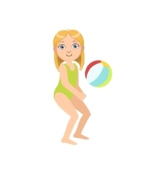 Girl playing beach voleyball vector