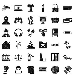 Hacking icons set simple style vector