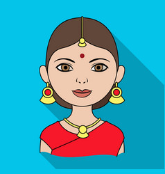 hindu womanhuman race single icon in flat style vector image