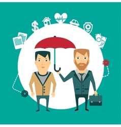 Insurance agent holding umbrella vector