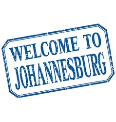 Johannesburg - welcome blue vintage isolated label vector