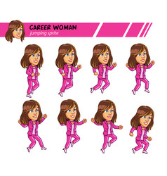 jumping career woman game sprite vector image vector image