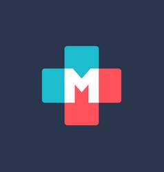 Letter m cross plus medical logo icon design vector