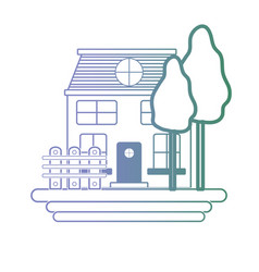 line house with windows and trees with grilled vector image vector image