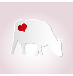 Love cow from paper simple silhouette icon eps10 vector