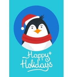 Merry Christmas card with penguin vector image vector image