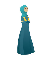 Muslim confident business woman with folded arms vector