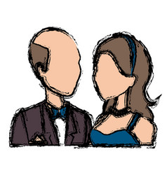 Portrait wedding couple happy bride and groom vector