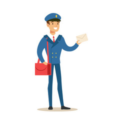 Postman in blue uniform delivering mail holding a vector