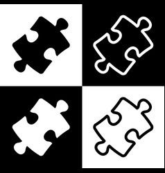 Puzzle piece sign black and white icons vector