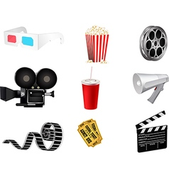 Set of detailed movie icons vector