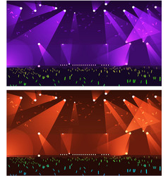 Set of empty stage rock concert vector
