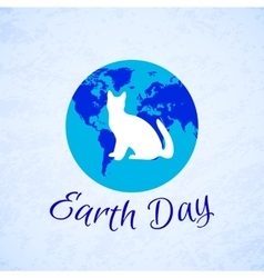 Silhouette of a cat over planet earth earth day vector