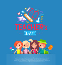 teachers day blue placard vector image