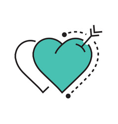 Twins heart and arrow blue vector