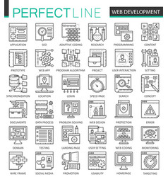 web development outline concept symbols perfect vector image