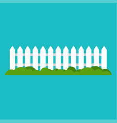white wooden fence and grass vector image vector image
