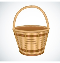 Wicker empty basket isoaleted vector image vector image