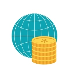Earth globe diagram and coins icon vector