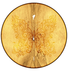 Round frame from old paper with butterfly vector image