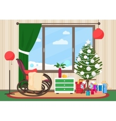 Christmas livingroom flat interior with rocking vector