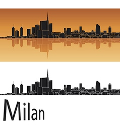 Milan skyline in orange background vector