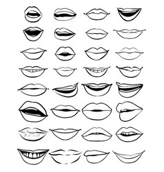 big hand drawn set of outline lips vector image