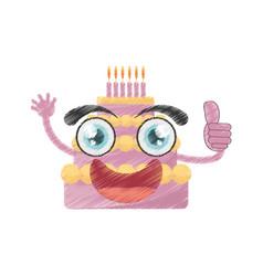 Drawing sweet cake birthday vector