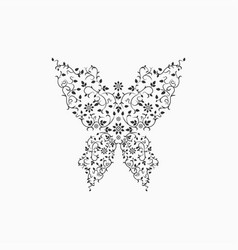 Gray ornate butterfly sign vector