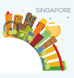 Singapore skyline with color buildings blue sky vector