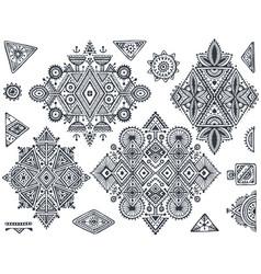 Set of seven tribal art boho hand drawn geometric vector