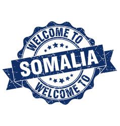 Somalia round ribbon seal vector