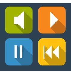 Modern flat music icon set for web and mobile vector