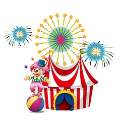 A carnival with a clown juggling vector