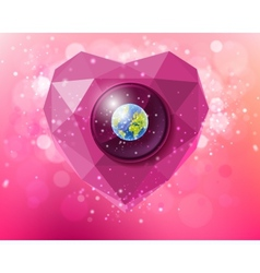 Heart of polygons with the planet earth vector