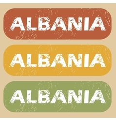 Vintage albania stamp set vector
