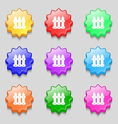 Fence icon sign symbols on nine wavy colourful vector