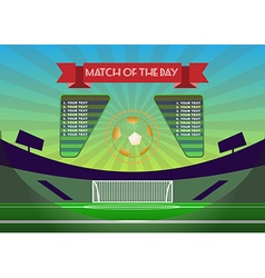 Soccer match scoreboard above playfield vector