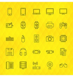 Technology devices line icons set over polygonal vector