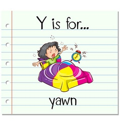 Flashcard letter y is for yawn vector