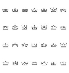 Outline crown icon vector