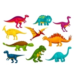 Dinosaurs cartoon collection emblems and vector