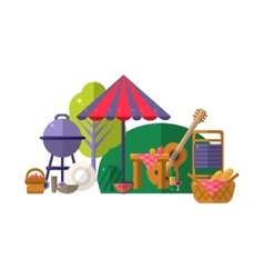 Barbeque in park items collection vector