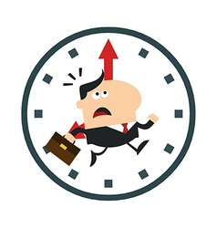 Businessman Running Past a Clock Cartoon vector image