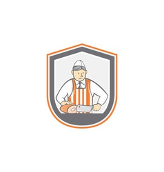 Butcher chopping ham shield cartoon vector